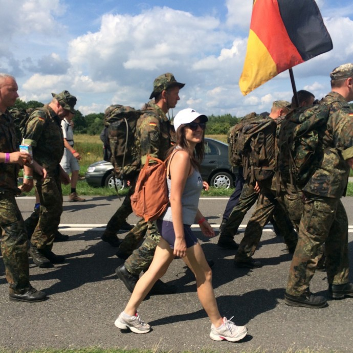 Walking with the German Military during the Vierdaagse