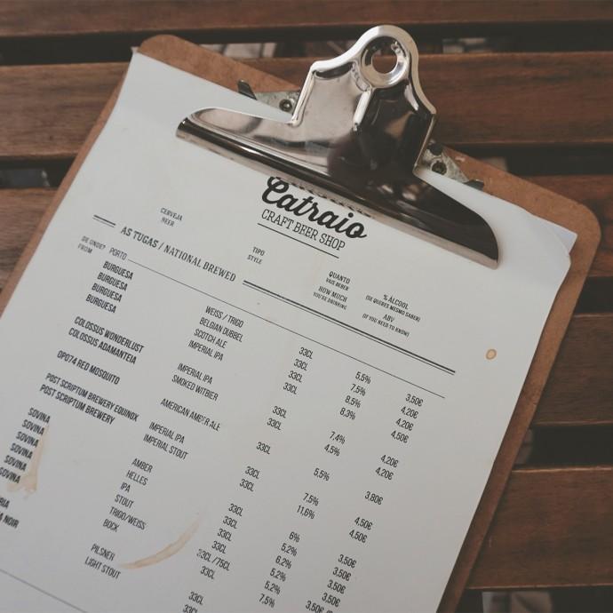 Craft beer menu